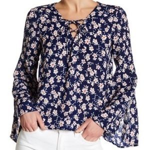 Lush • Navy Floral Bell Sleeve Lace Up Blouse